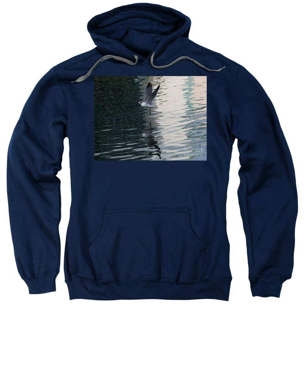 Wildlife Sweatshirt featuring the photograph Seagull Reflection Over Blue Bay by Carol Groenen