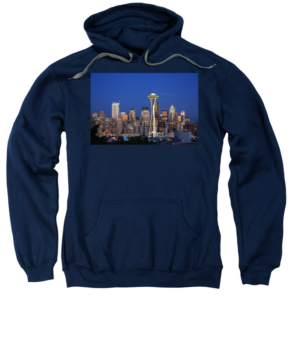 3scape Photos Sweatshirt featuring the photograph Seattle At Dusk by Adam Romanowicz