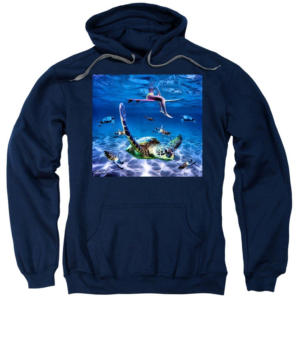 Surf Sweatshirt featuring the digital art See Turtles by Keith Kos