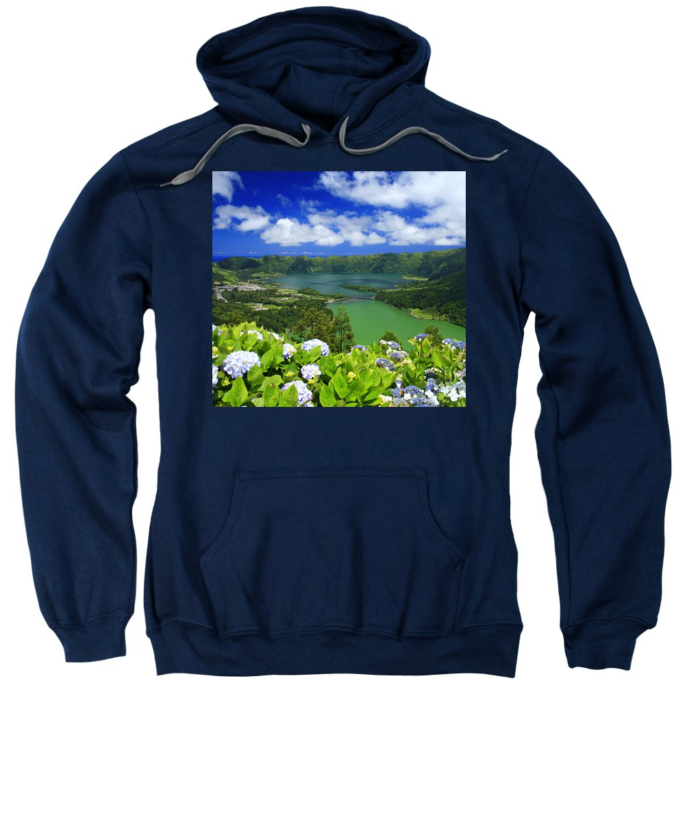 Sete Cidades Sweatshirt featuring the photograph Sete Cidades Crater by Gaspar Avila