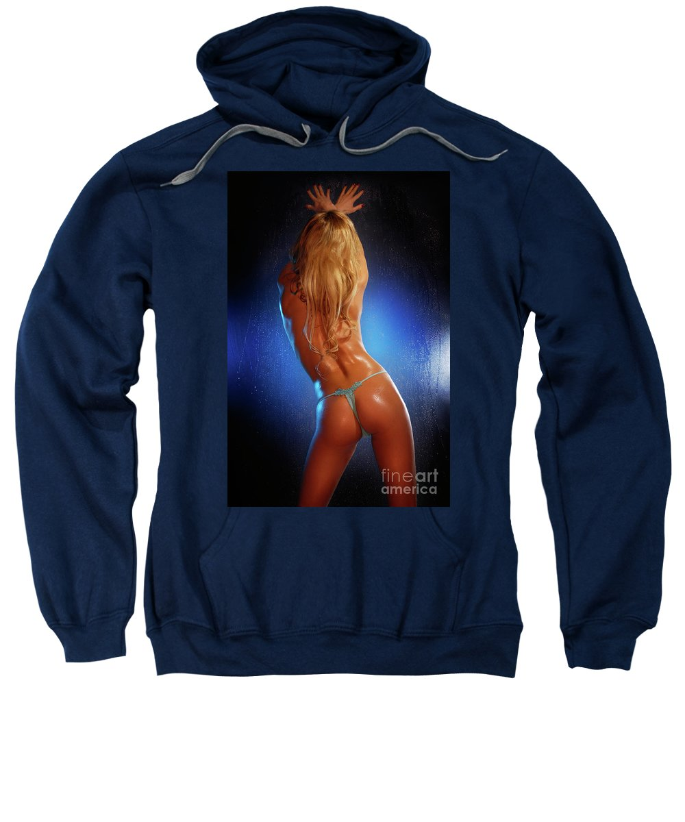 Glamour Sweatshirt featuring the photograph Sexy Young Woman Back by Oleksiy Maksymenko