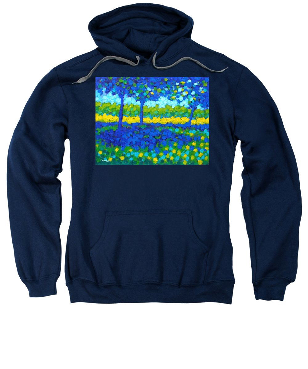 Irish Landscape Sweatshirt featuring the painting Shadow Trees by John Nolan