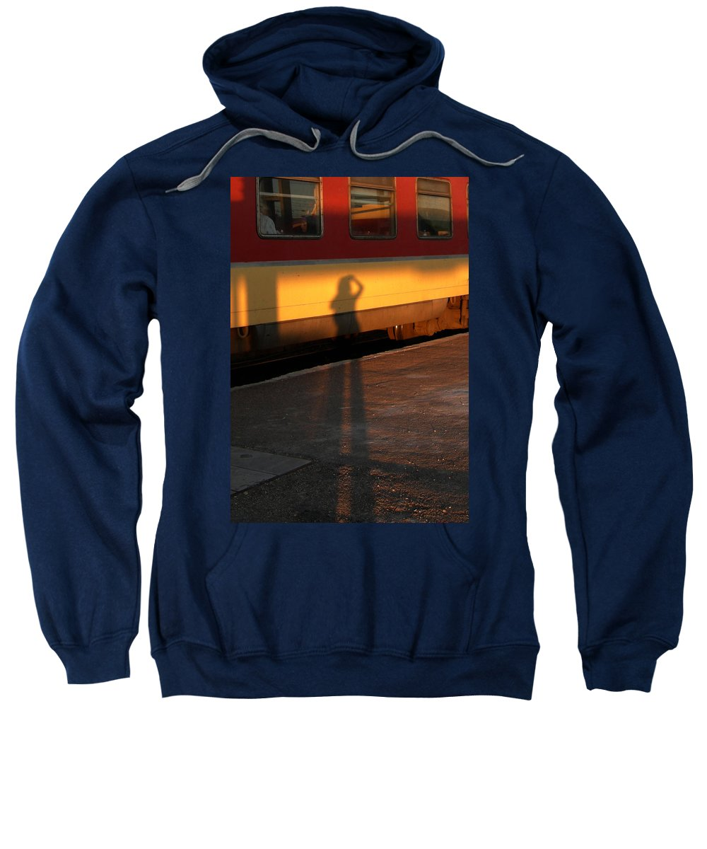 Sweatshirt featuring the photograph Shadows On The Platform 2 by Fay Lawrence