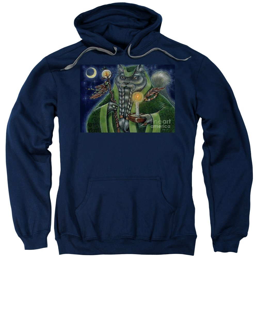 Cats Sweatshirt featuring the painting Shaman's Moon by Sin D Piantek