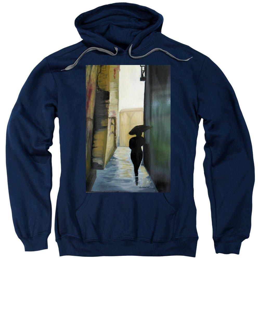 Woman Walking Sweatshirt featuring the painting She Walks by Kim Rahal