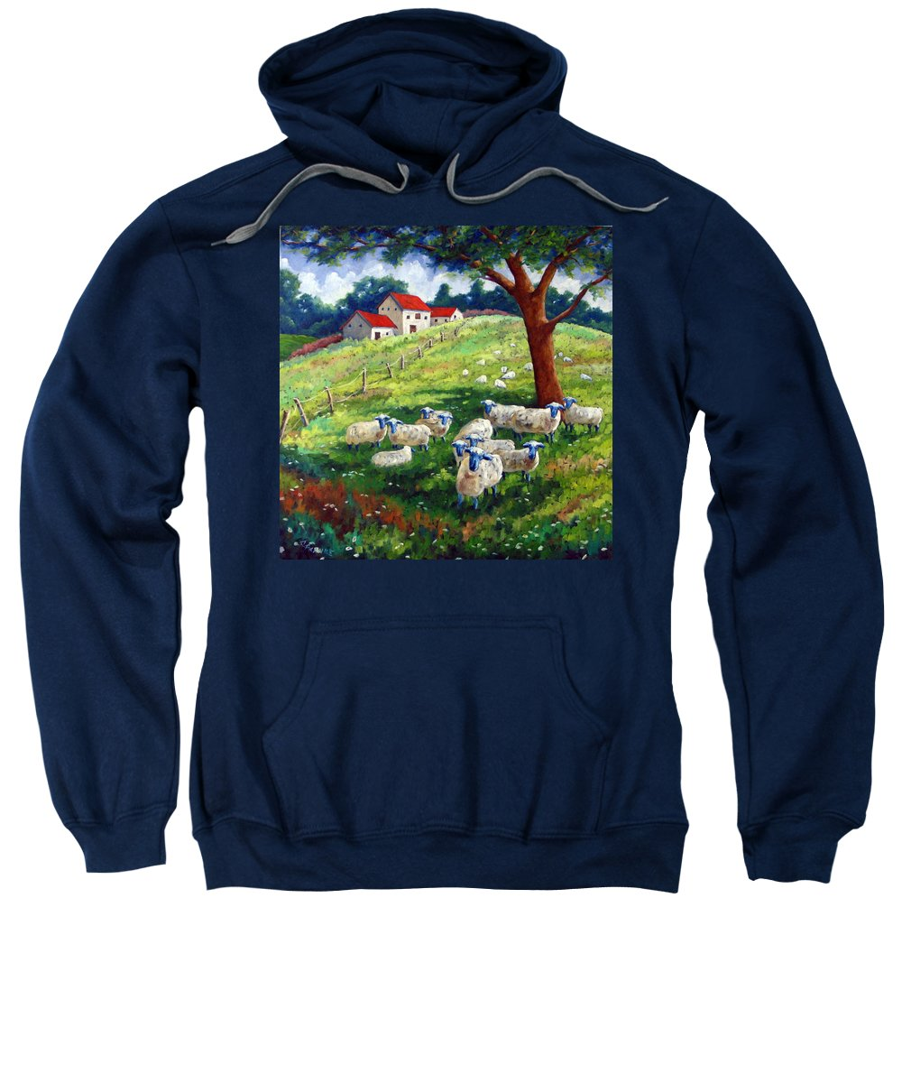Sheep Sweatshirt featuring the painting Sheeps In A Field by Richard T Pranke