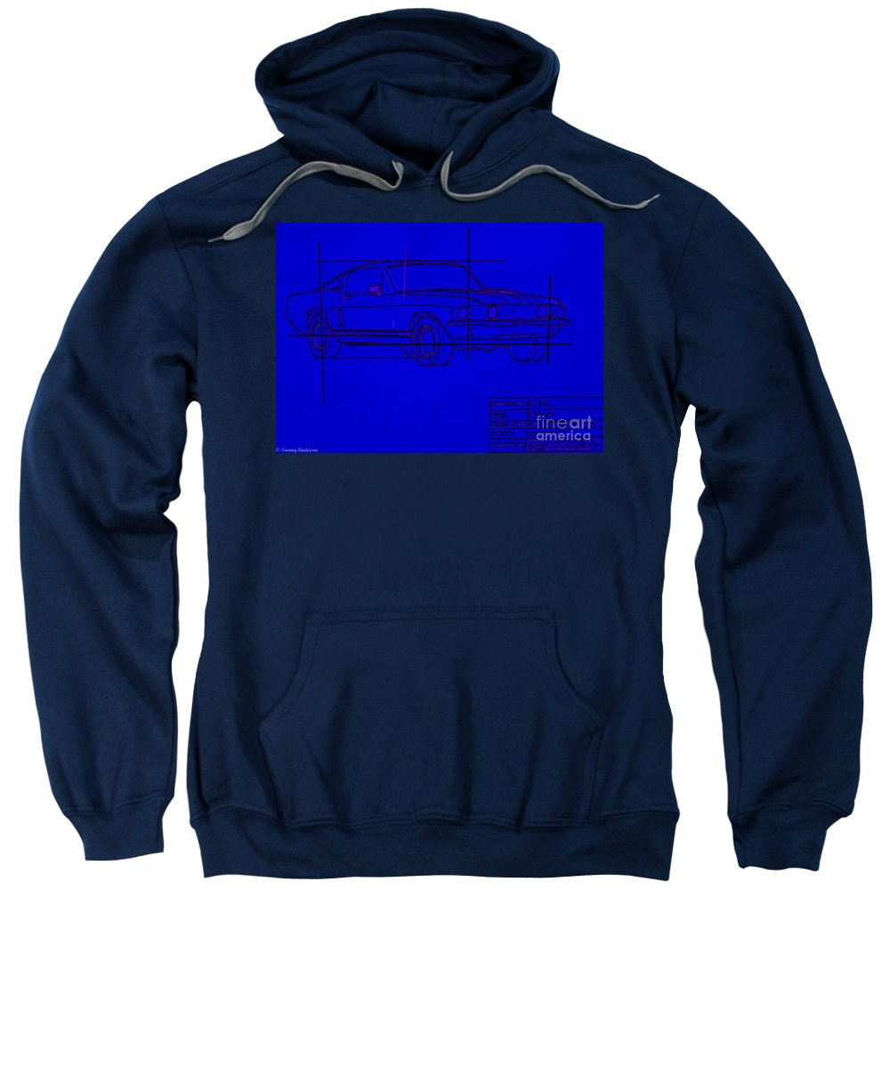 Ford Sweatshirt featuring the photograph Shelby Gt Mustang Blueprint by Tommy Anderson