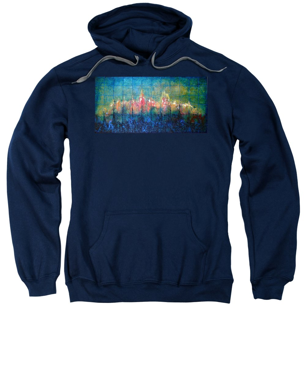 Seascape Sweatshirt featuring the painting Shorebound by Shadia Derbyshire