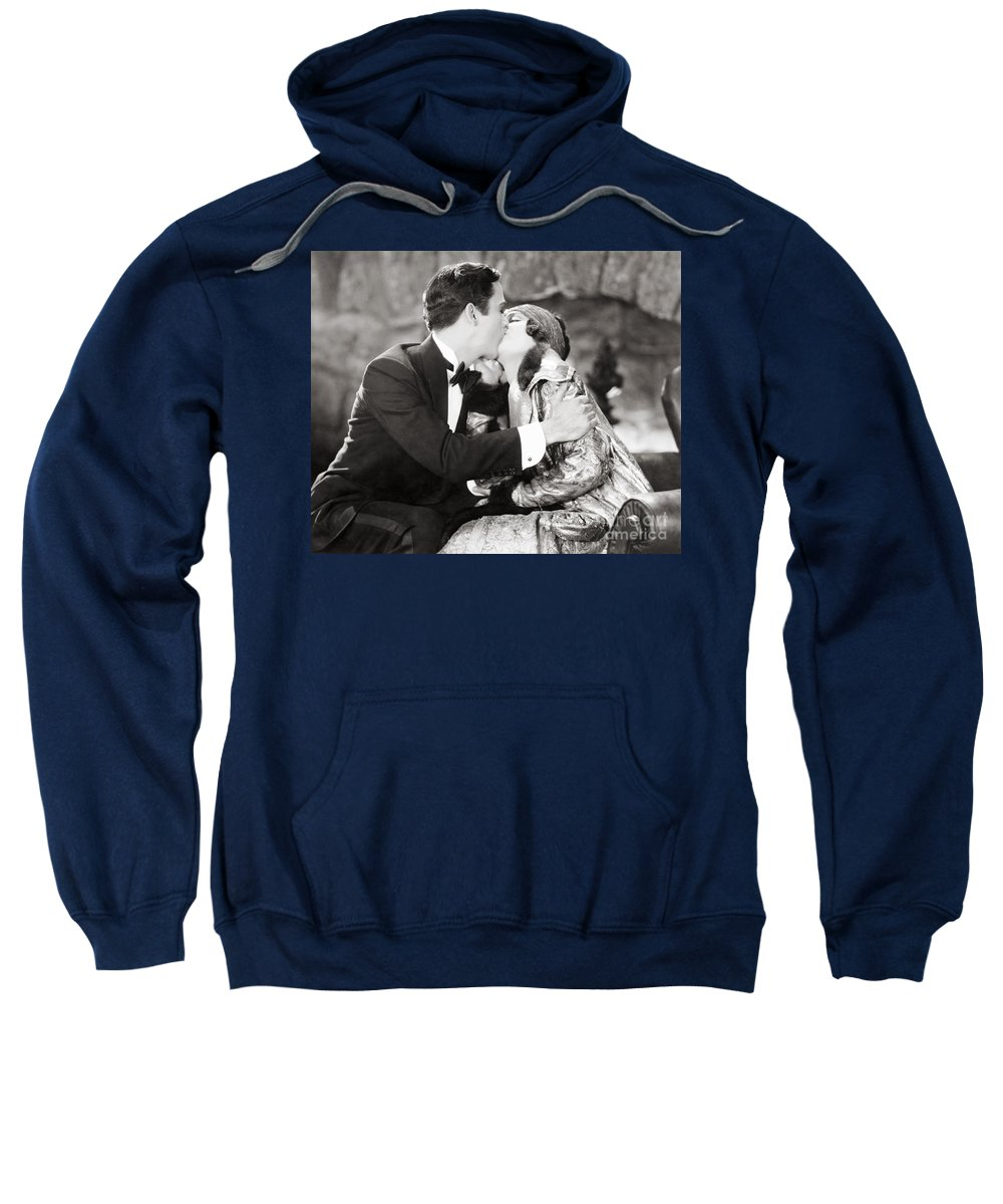 -kissing- Sweatshirt featuring the photograph Silent Film Still: Kissing by Granger
