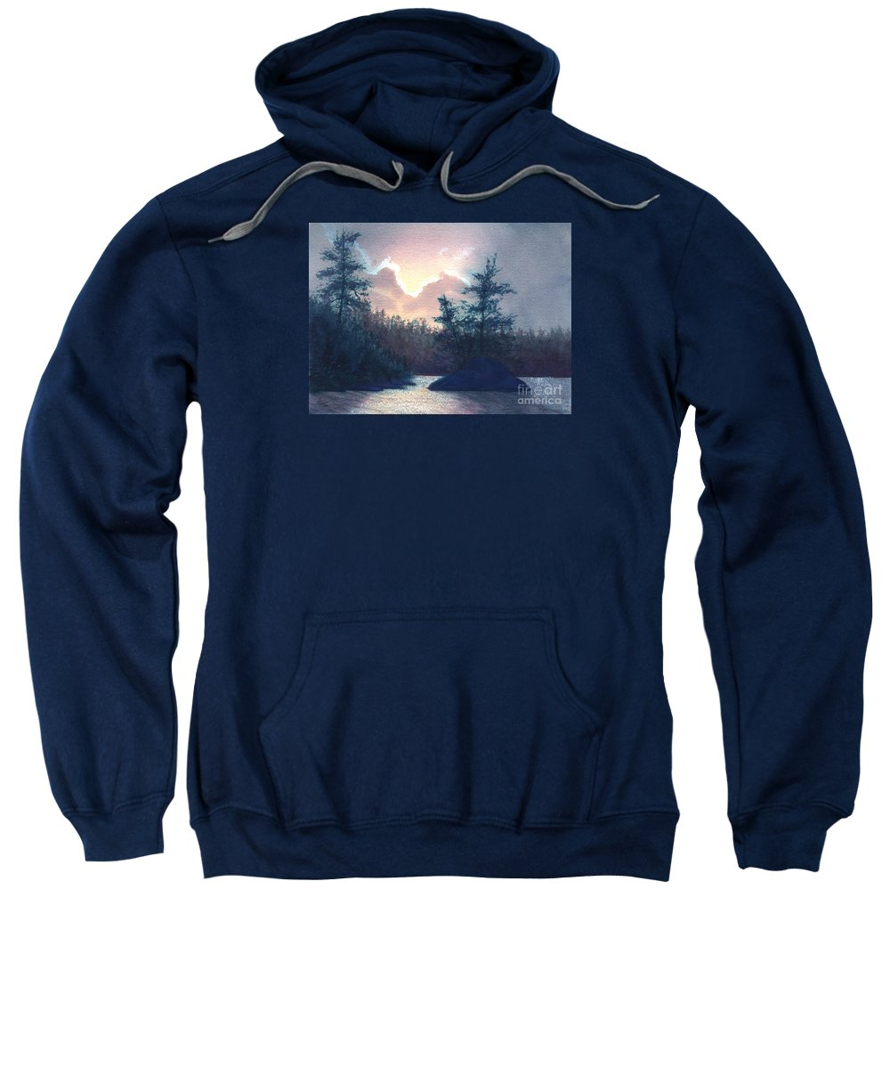 Landscape Sweatshirt featuring the painting Silver Lining by Lynn Quinn