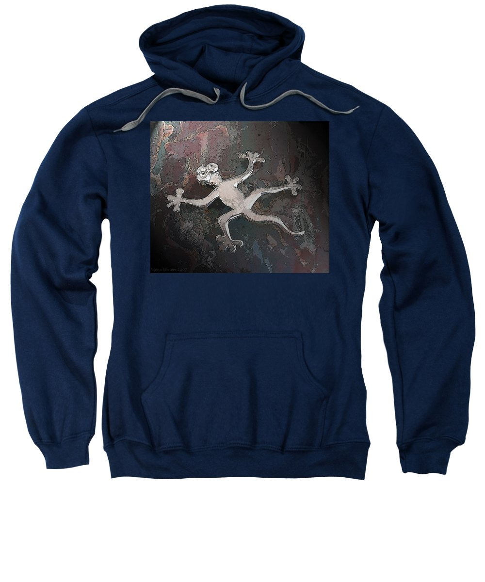 Silver Sweatshirt featuring the digital art Silver Lizard by Merja Waters
