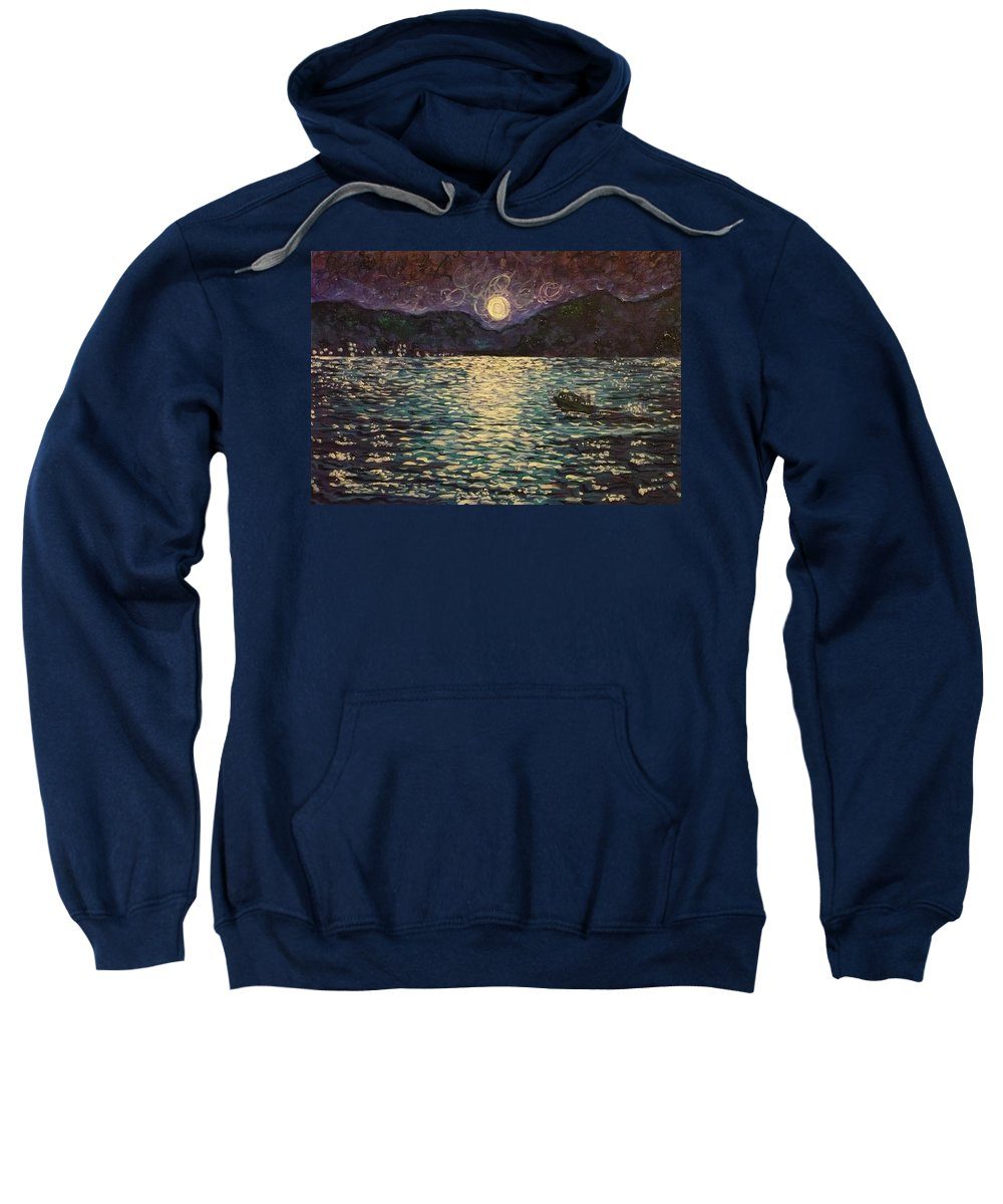 Landscape Sweatshirt featuring the painting Silver Sea by Ericka Herazo
