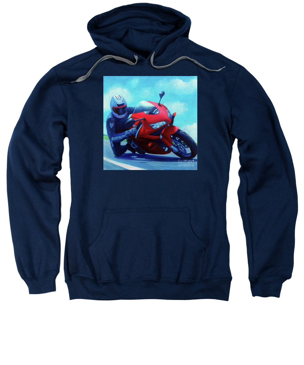 Motorcycle Sweatshirt featuring the painting Sky Pilot - Honda Cbr600 by Brian Commerford
