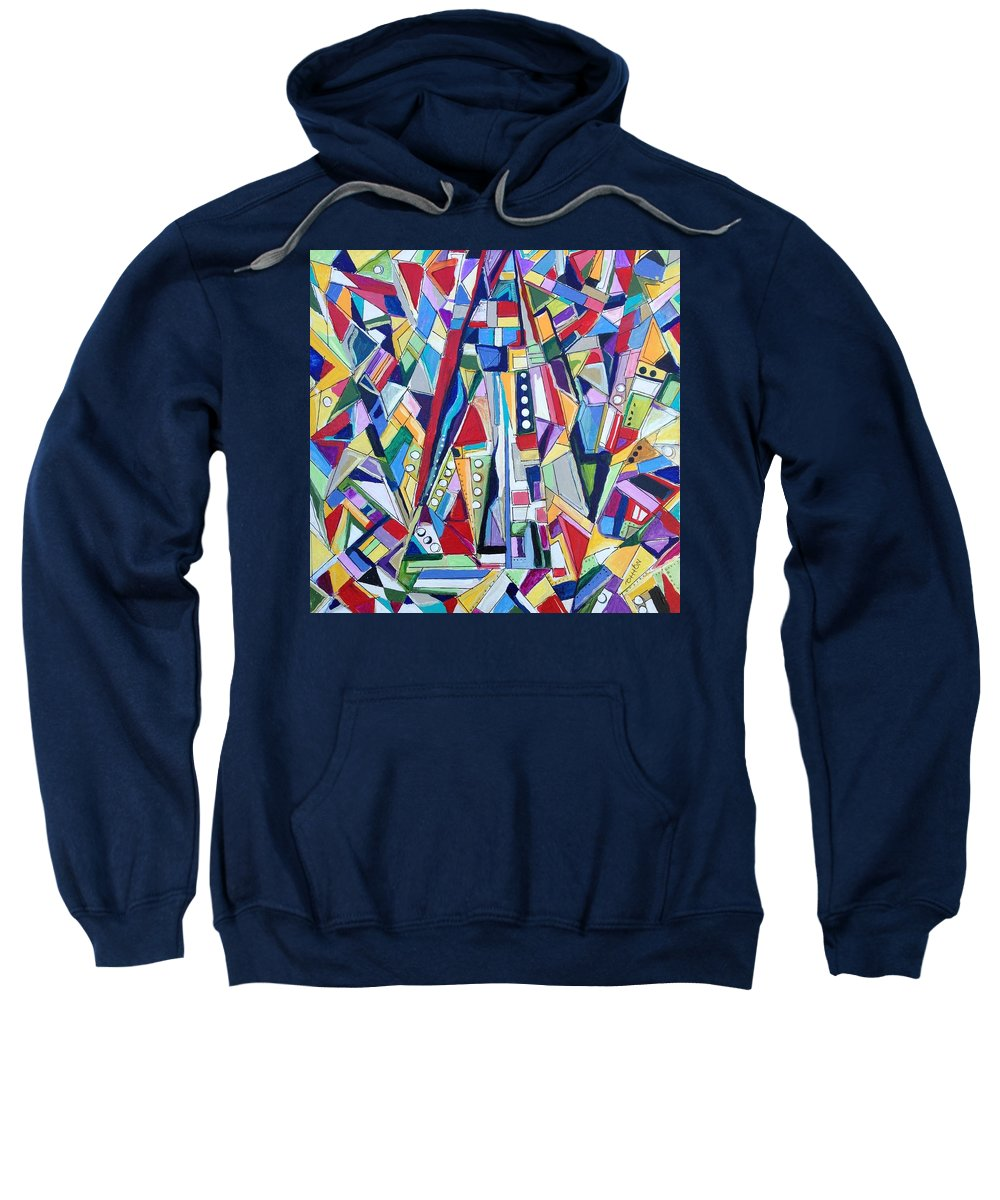 Abstract Sweatshirt featuring the painting Sky Scrapers by Kathy Othon