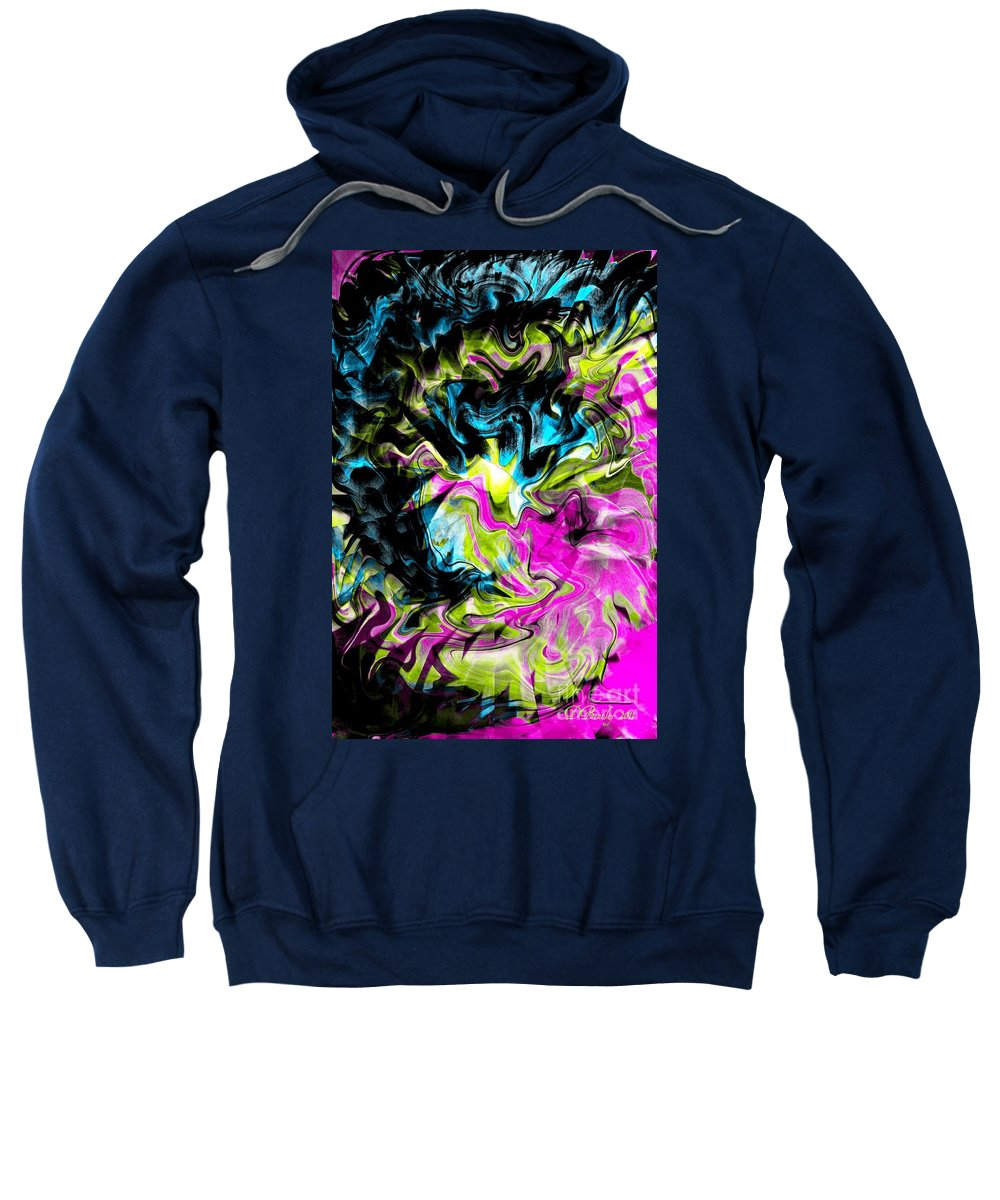 Abstract Art Sweatshirt featuring the digital art Smoke Gets In Your Eyes by Donna Bentley