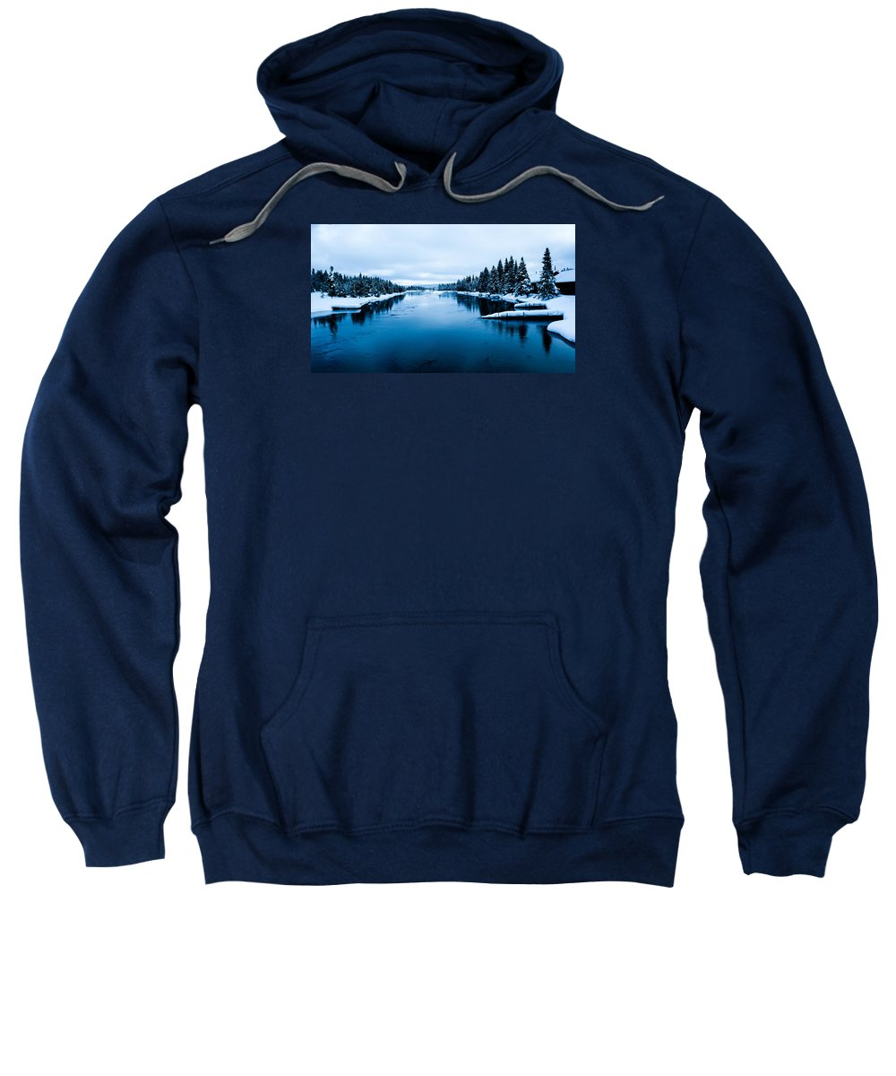 River Sweatshirt featuring the photograph Snow River Horizon by Jonathan Horan