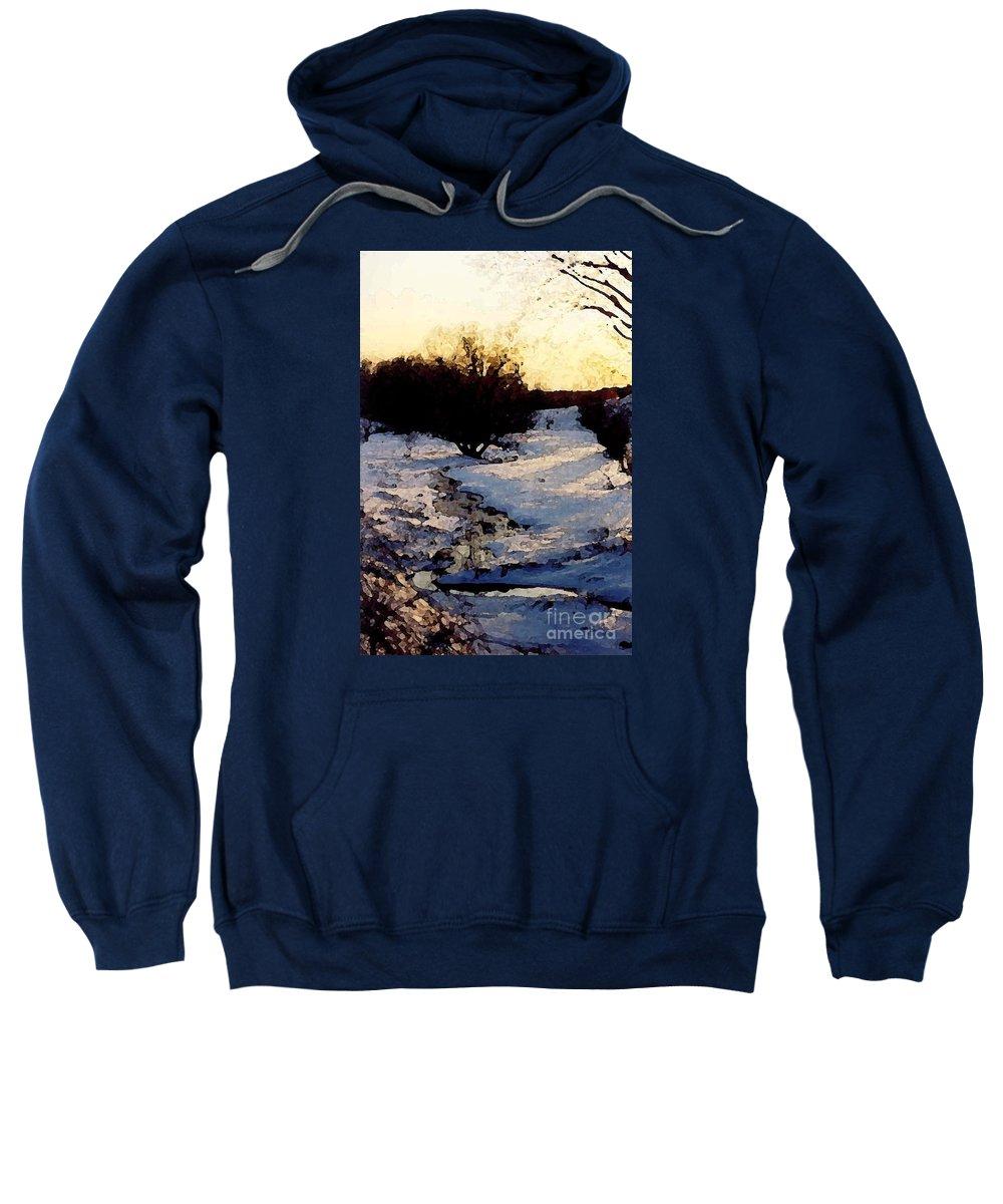 Winter Sweatshirt featuring the digital art Snowmelt by Mendy Pedersen