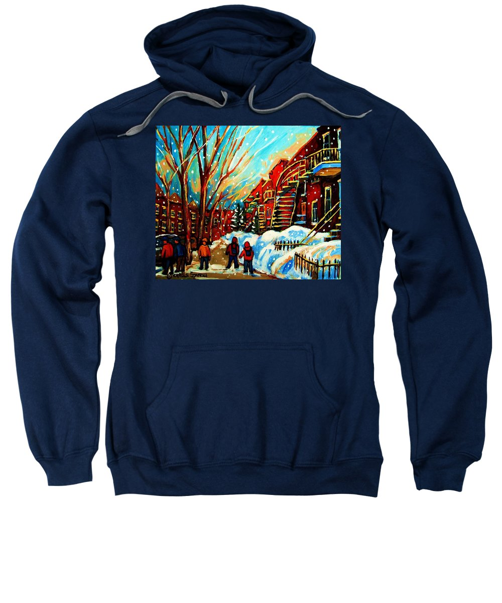 Montreal Sweatshirt featuring the painting Softly Snowing by Carole Spandau