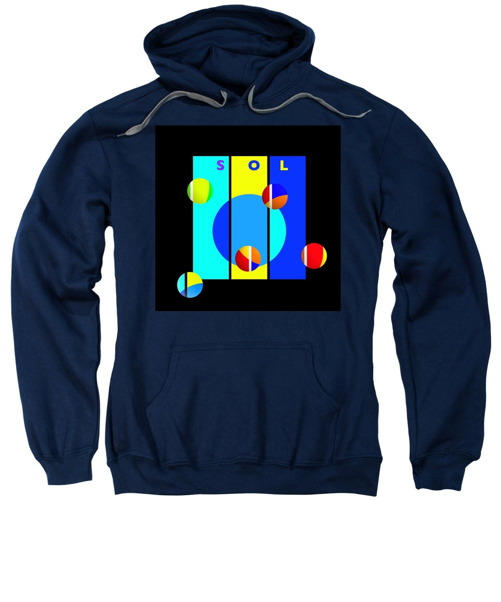 Primary Colors Sweatshirt featuring the painting Solar Activity by Charles Stuart