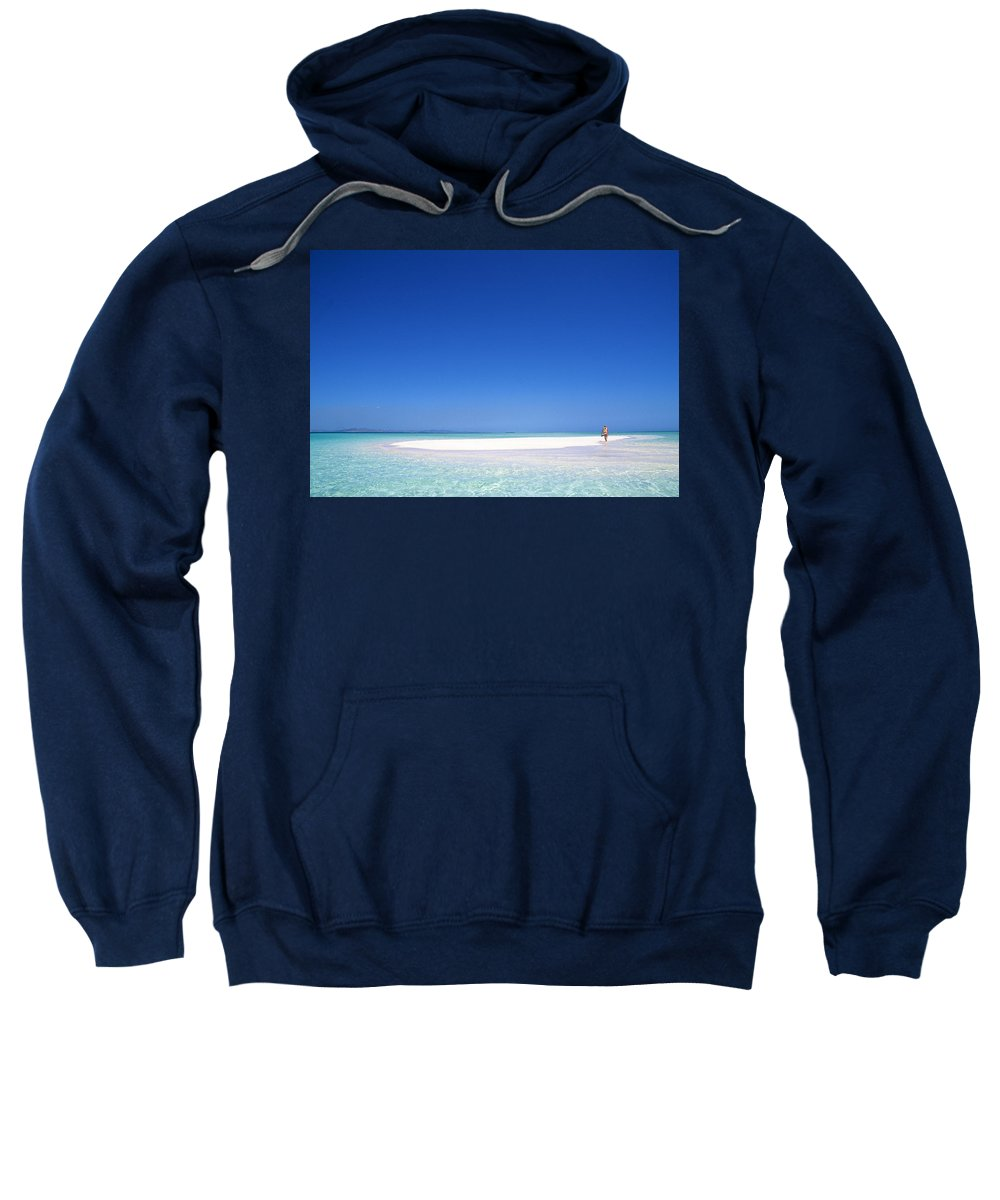 South Pacific Sandbar Sweatshirt featuring the photograph South Pacific Sandbar2 by Steve Williams