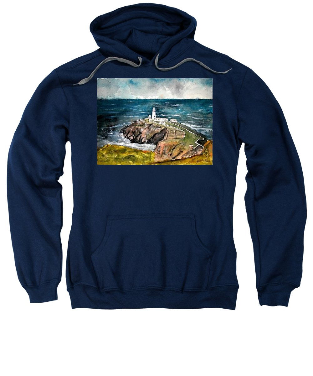 South Stack Lighthouse Sweatshirt featuring the painting South Stack Lighthouse by Derek Mccrea