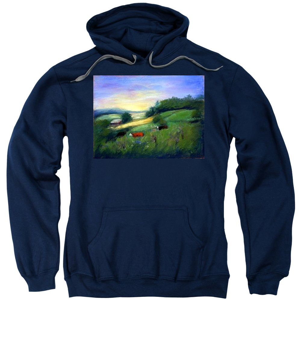 Landscape Sweatshirt featuring the painting Southern Ohio Farm by Gail Kirtz