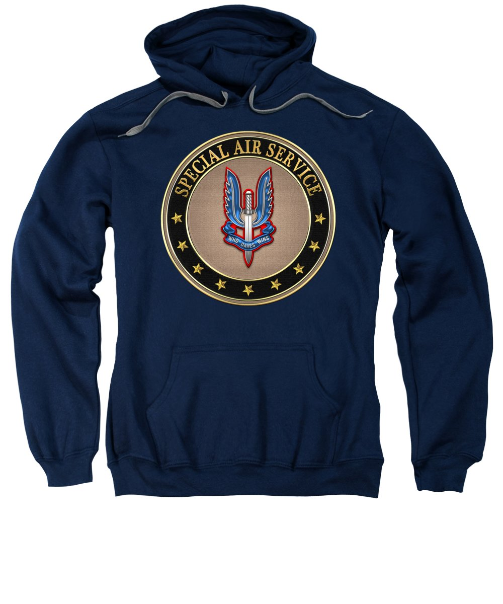 'uk Insignia & Heraldry' Collection By Serge Averbukh Sweatshirt featuring the digital art Special Air Service - S A S Insignia Special Tan Edition Over Blue Velvet by Serge Averbukh