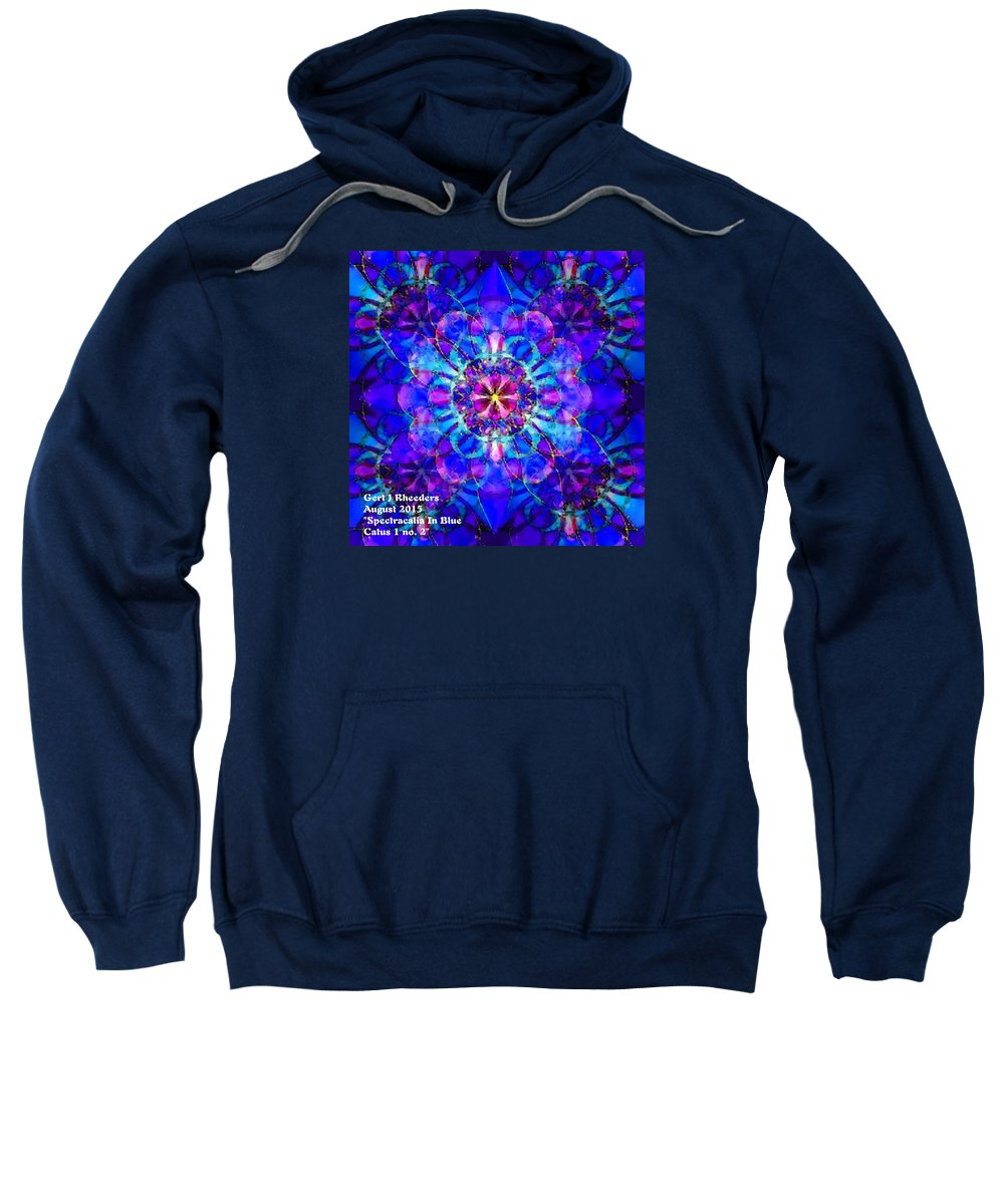 Announcement Sweatshirt featuring the painting Spectracalia In Blue Catus 1 No. 2 H A by Gert J Rheeders
