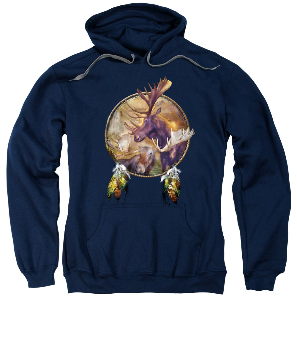 Carol Cavalaris Sweatshirt featuring the mixed media Spirit Of The Moose by Carol Cavalaris