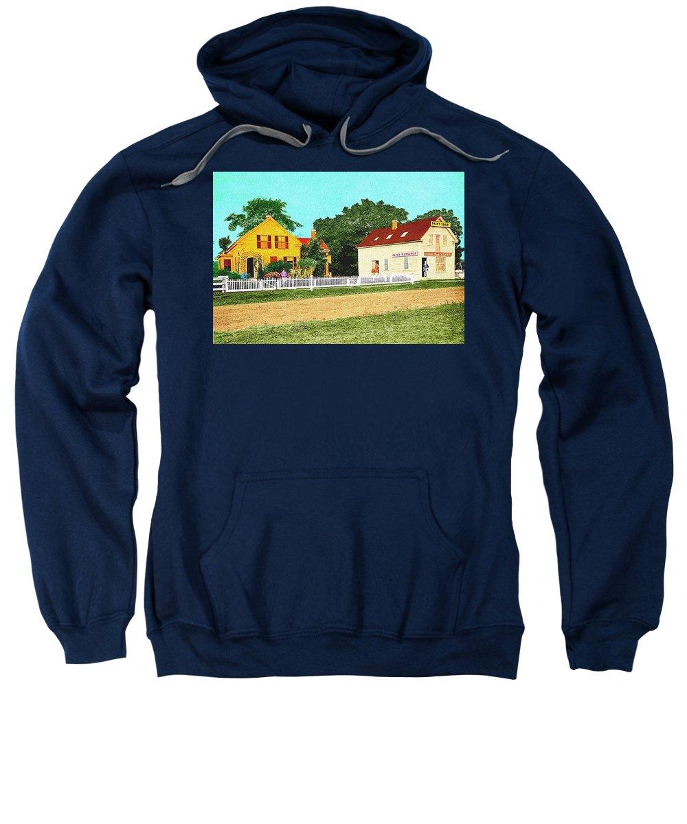 Landscape Sweatshirt featuring the painting Spooner's Paint Shop by Cliff Wilson