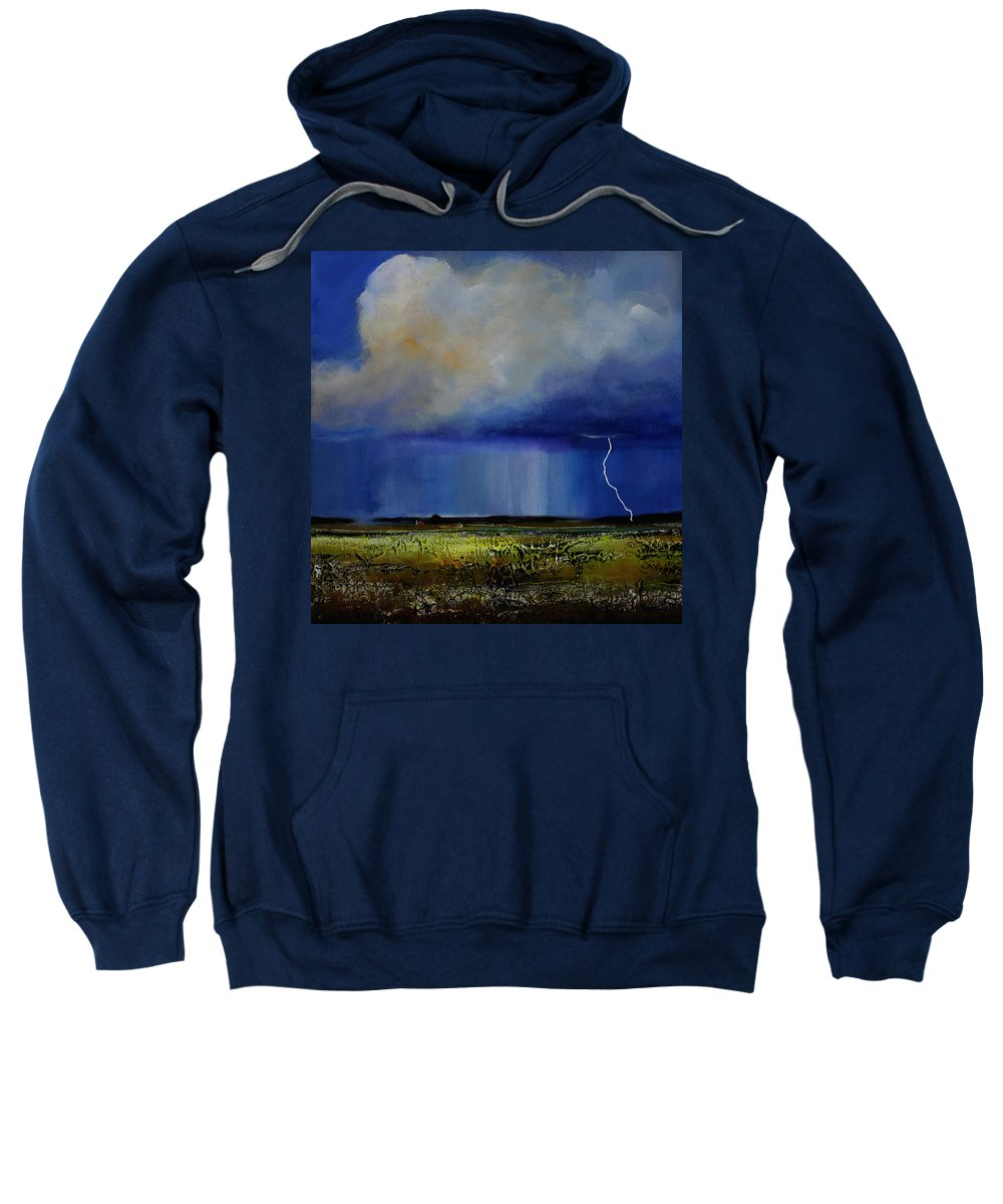 Clouds Sweatshirt featuring the painting Spring Green Pastures by Toni Grote