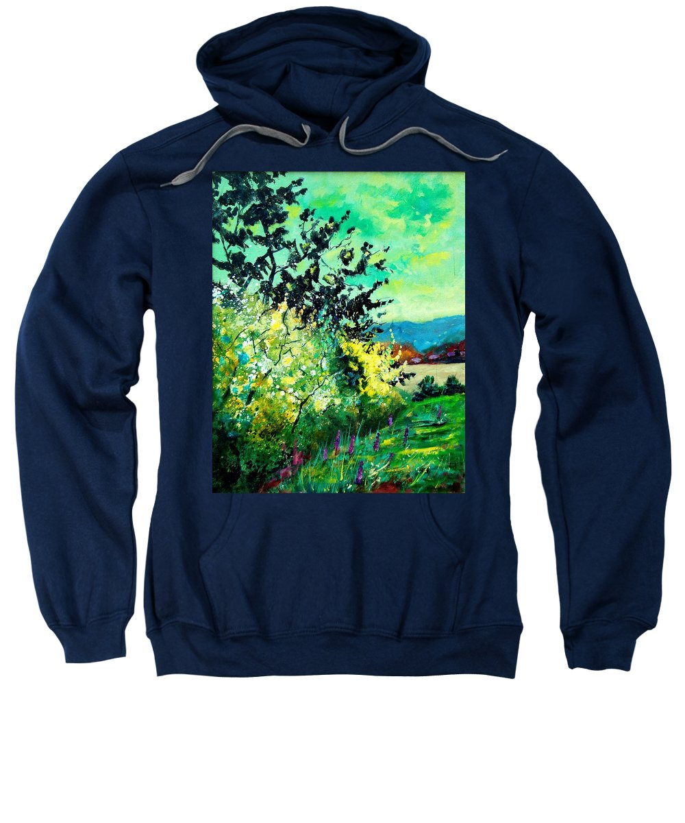 Spring Sweatshirt featuring the painting spring in Ciergnon by Pol Ledent