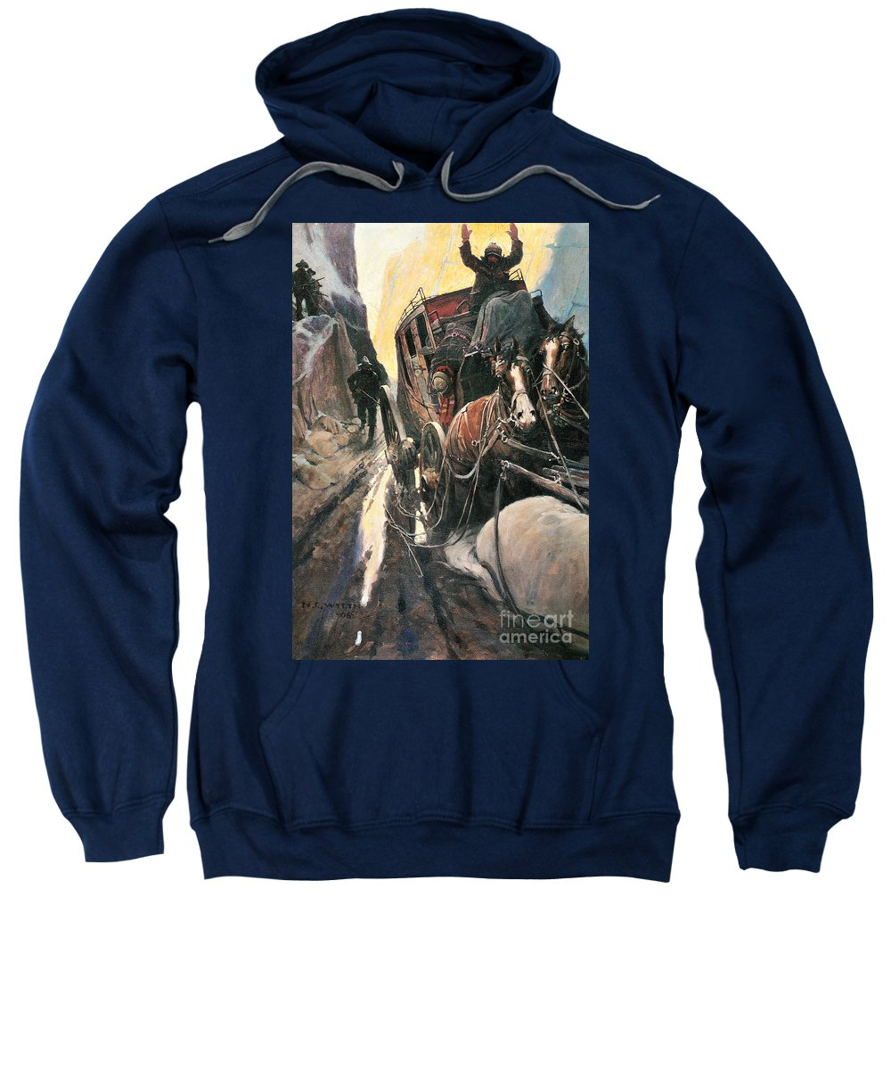 1906 Sweatshirt featuring the photograph Stagecoach Robbers by Granger