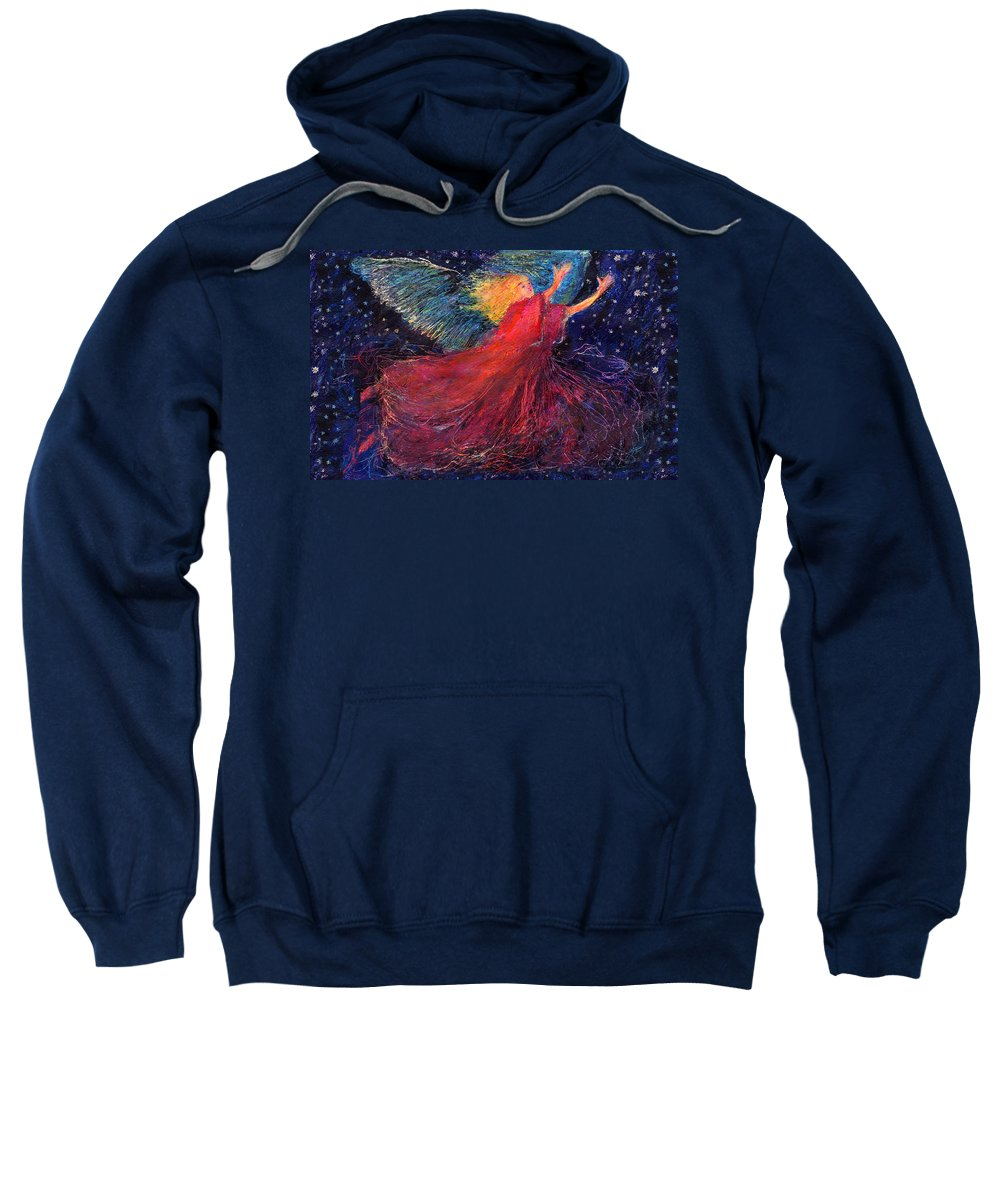 Angel Sweatshirt featuring the painting Starry Angel by Diana Ludwig
