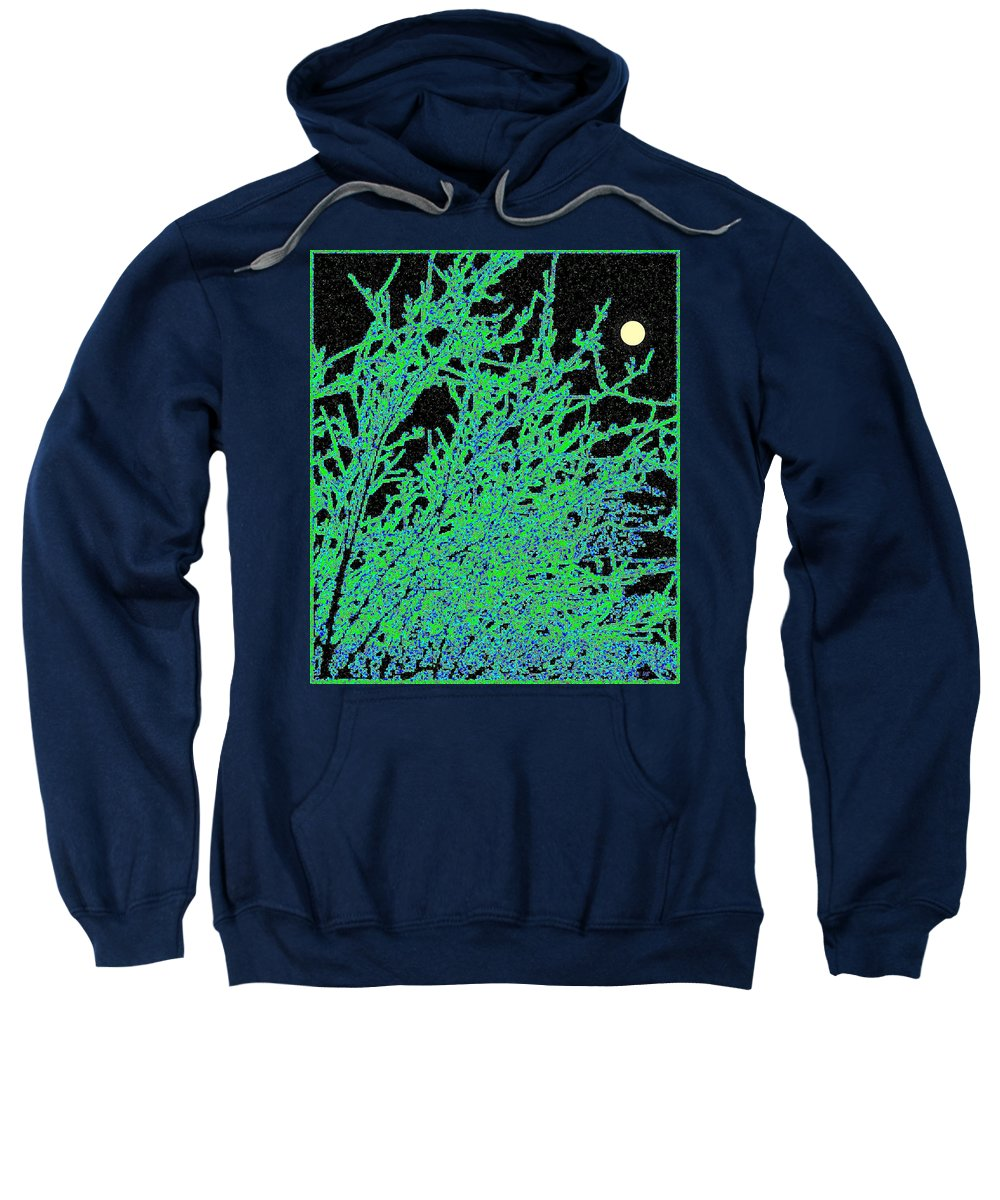 Abstract Sweatshirt featuring the digital art Starry Moonlit Night by Will Borden