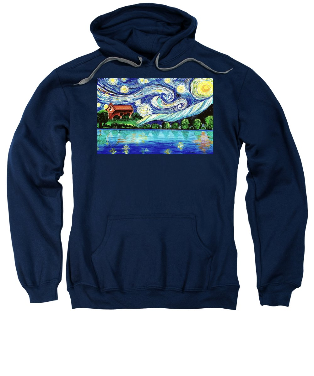 Starry Night Sweatshirt featuring the painting Starry Night Over The Lake by Lei Wen