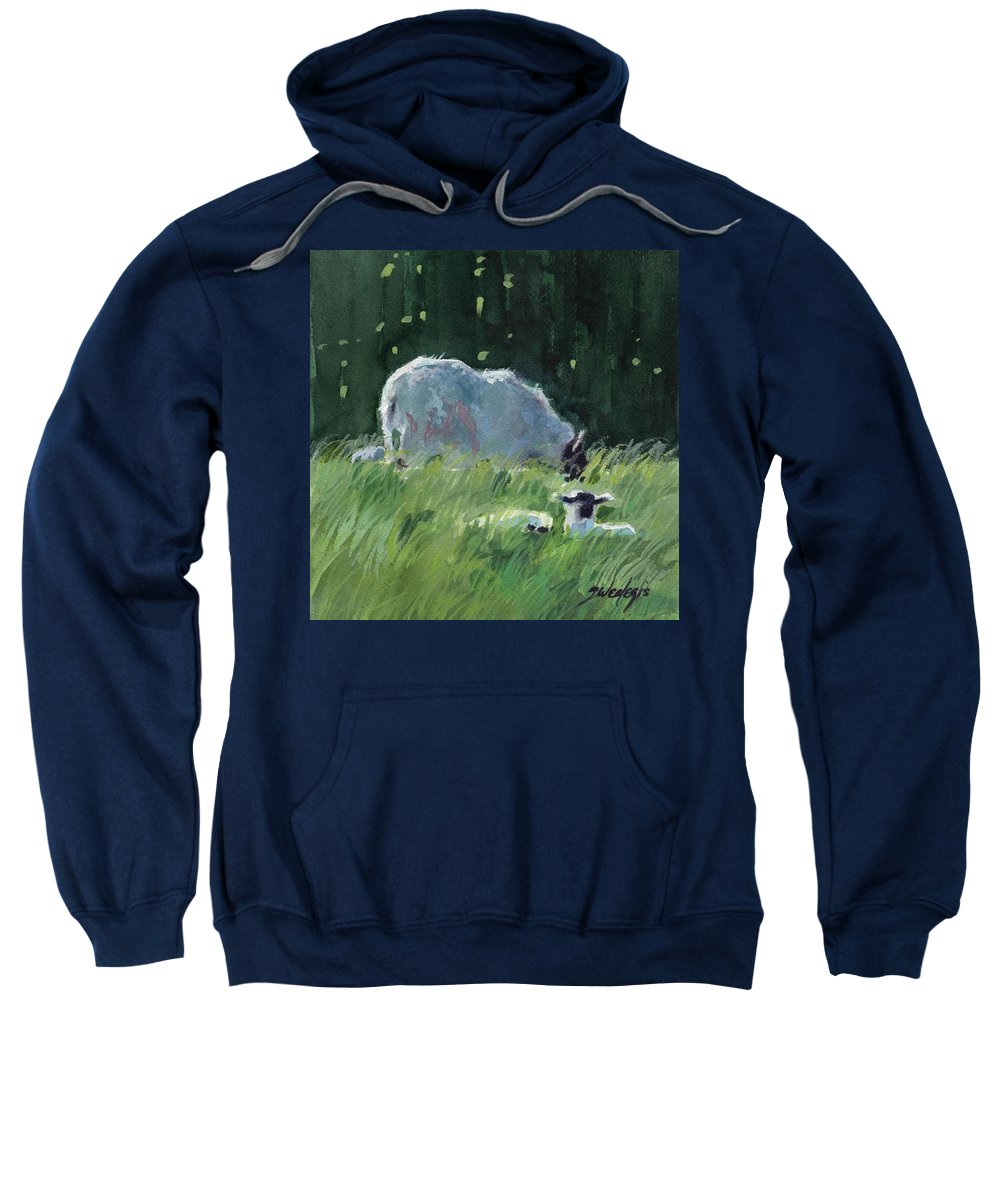 Green Sweatshirt featuring the painting Stay Close To Mum 2 by Sheila Wedegis