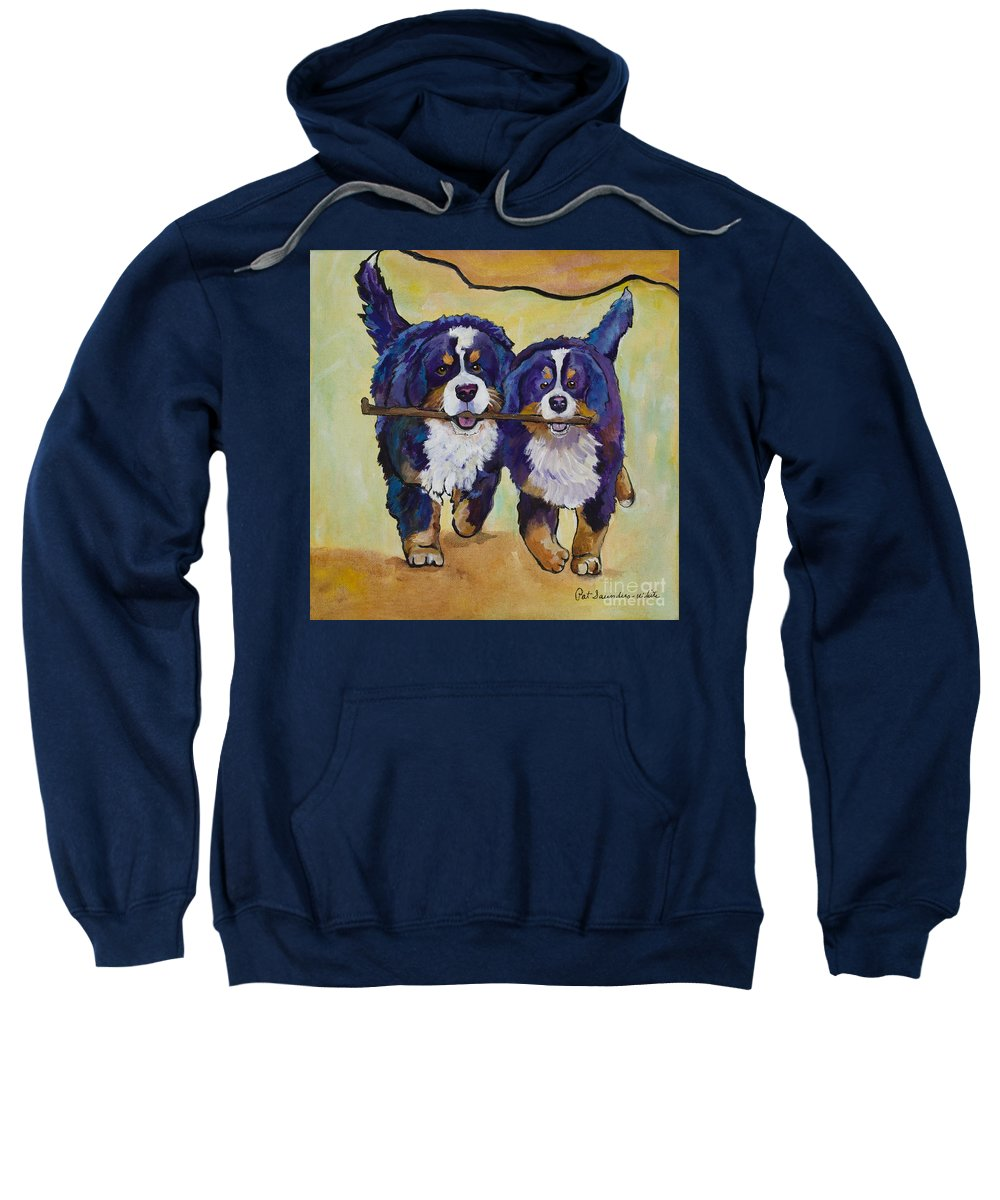 Bernese Mountain Dogs Sweatshirt featuring the painting Stick Together by Pat Saunders-White