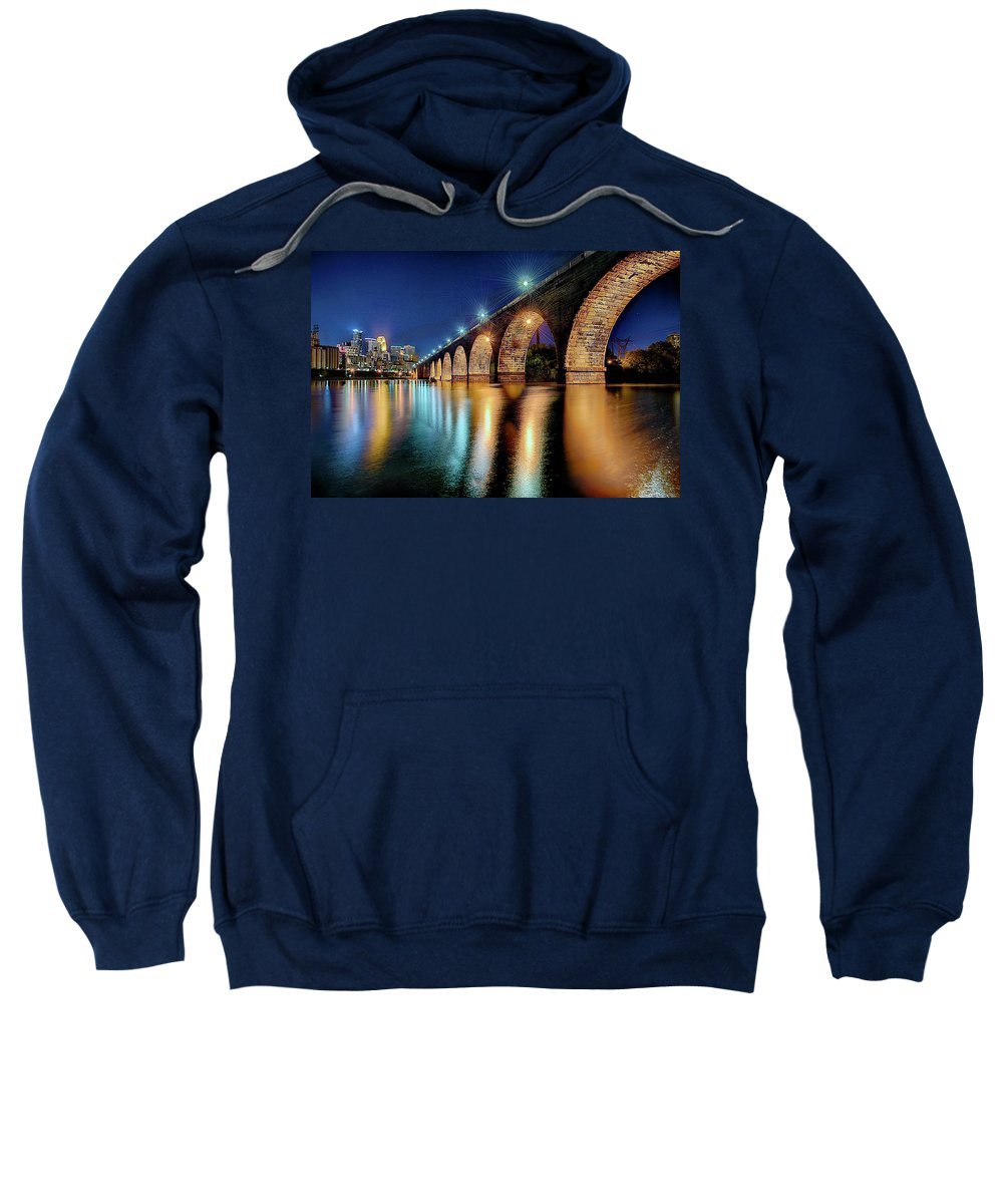 Mississippi River.stone Arch Bridge Sweatshirt featuring the photograph Stone Arch Bridge by Craig Voth