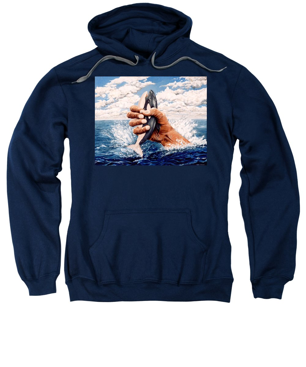 Surreal Sweatshirt featuring the painting Stop Whaling by Mark Cawood