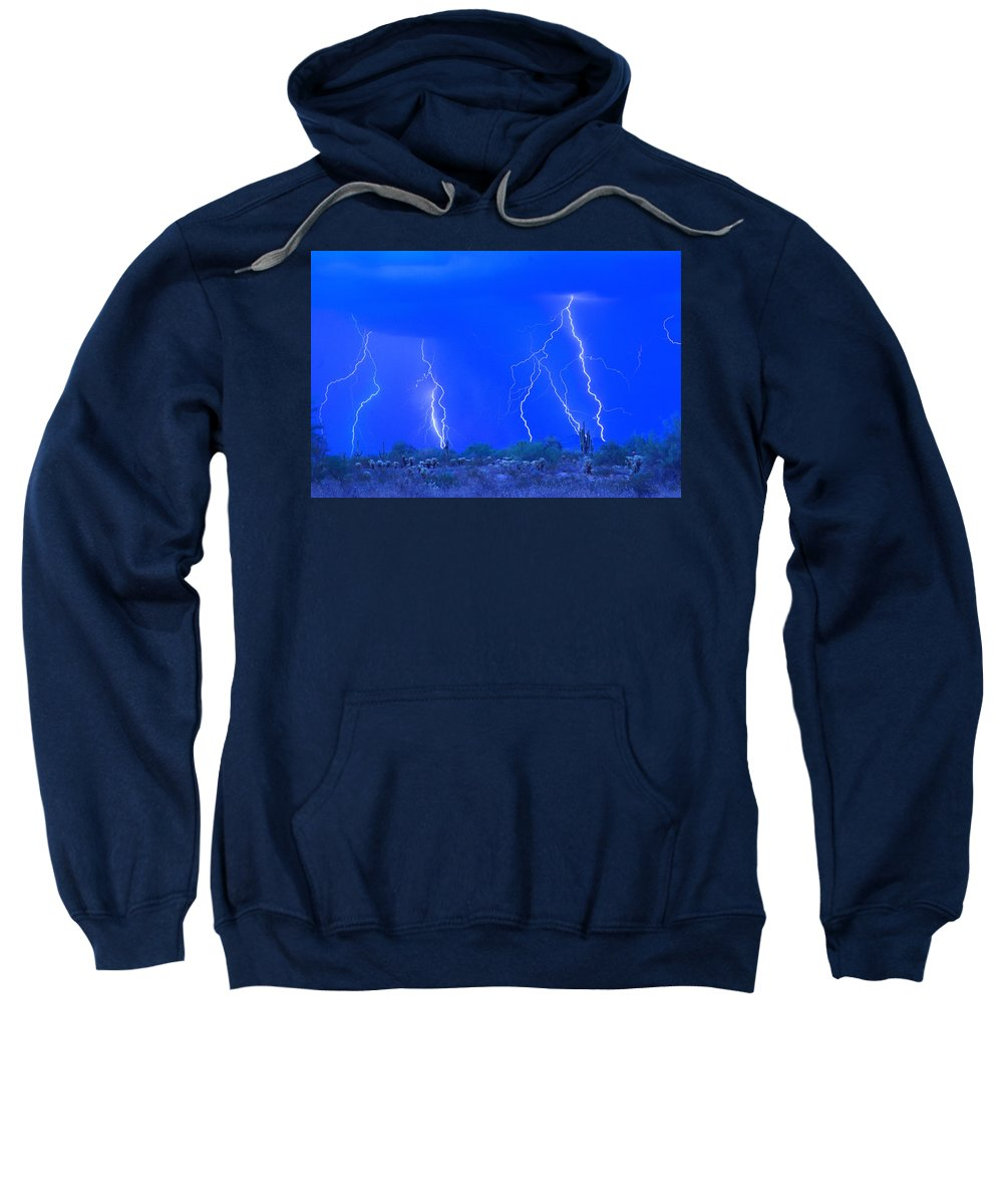 Lightning Sweatshirt featuring the photograph Stormy Desert by James BO Insogna