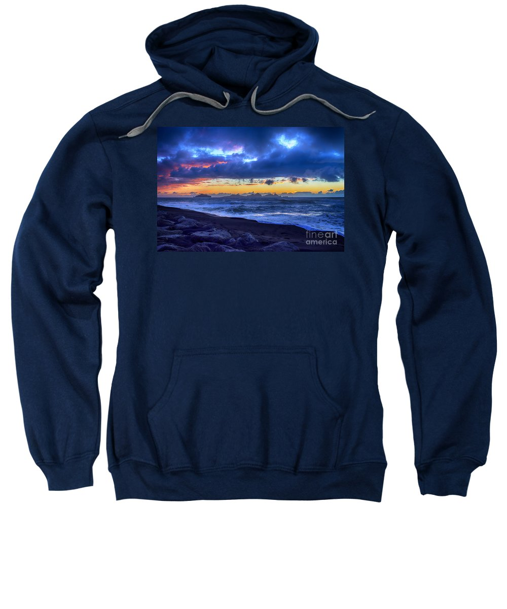 Icelandic Sweatshirt featuring the photograph Stormy Icelandic Sunset by Chris Thaxter