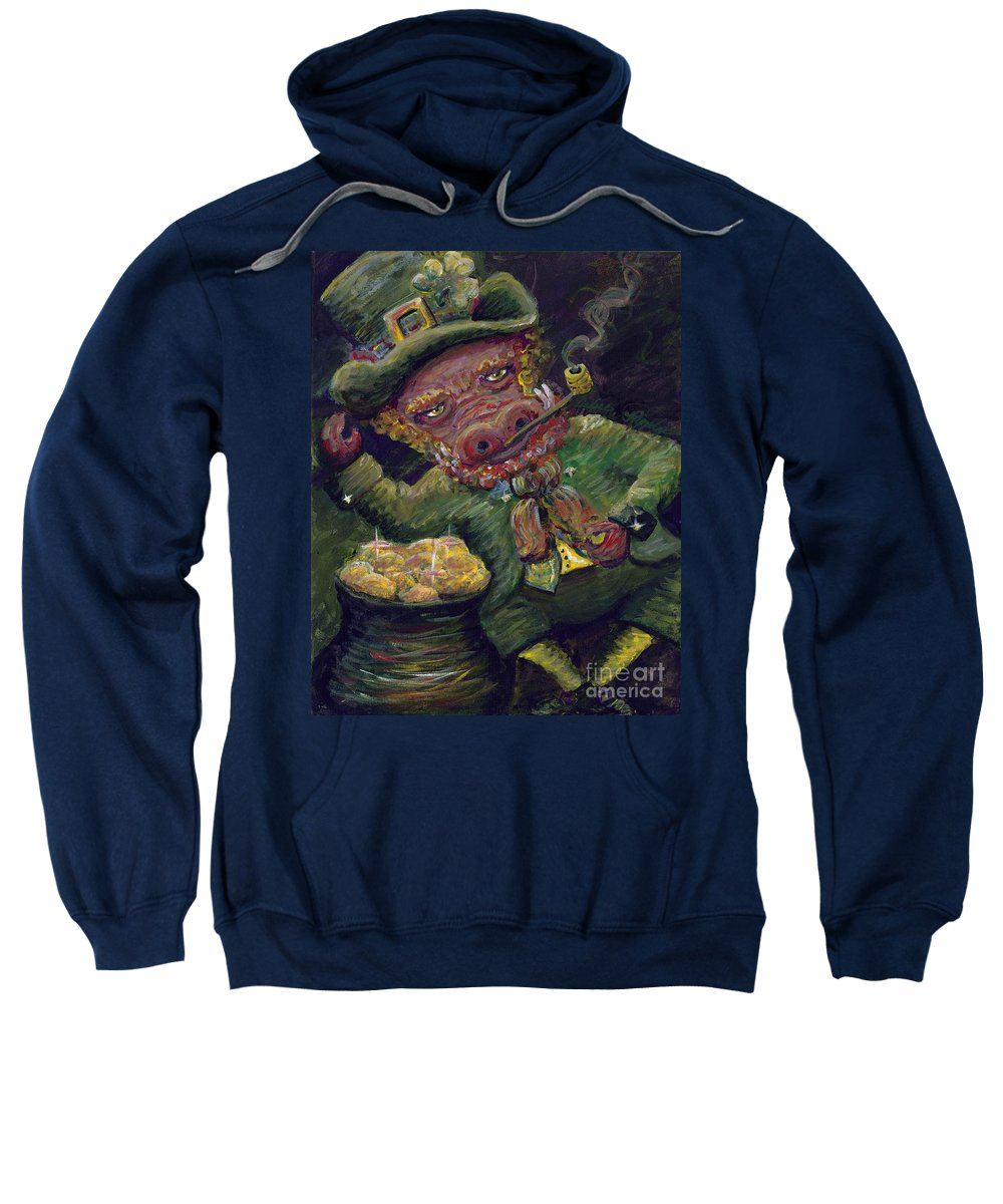 Hog Sweatshirt featuring the painting St.patricks Day Pig by Nadine Rippelmeyer