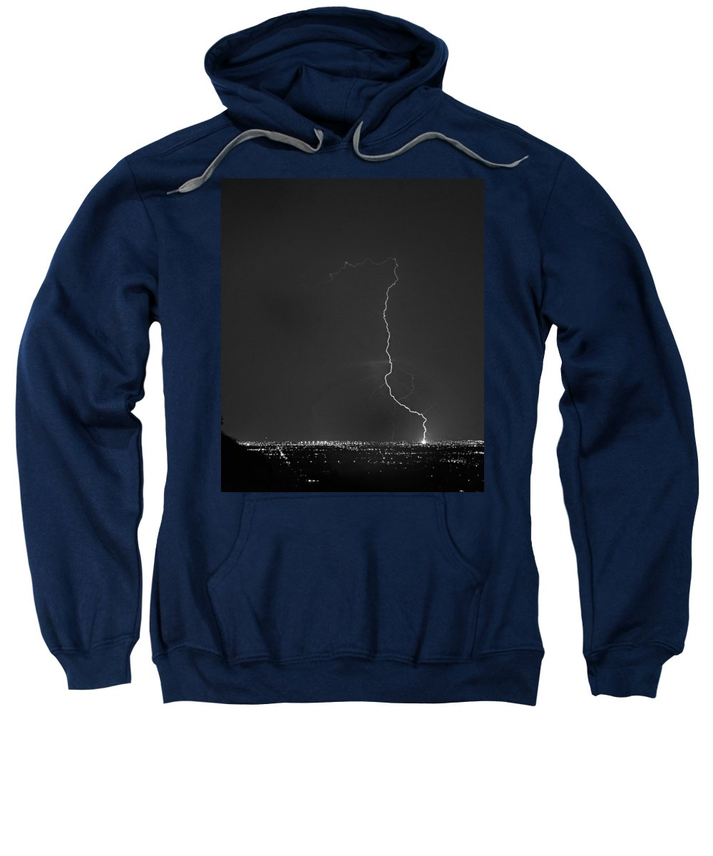 Lightning Sweatshirt featuring the photograph Strike On The City. by James BO Insogna