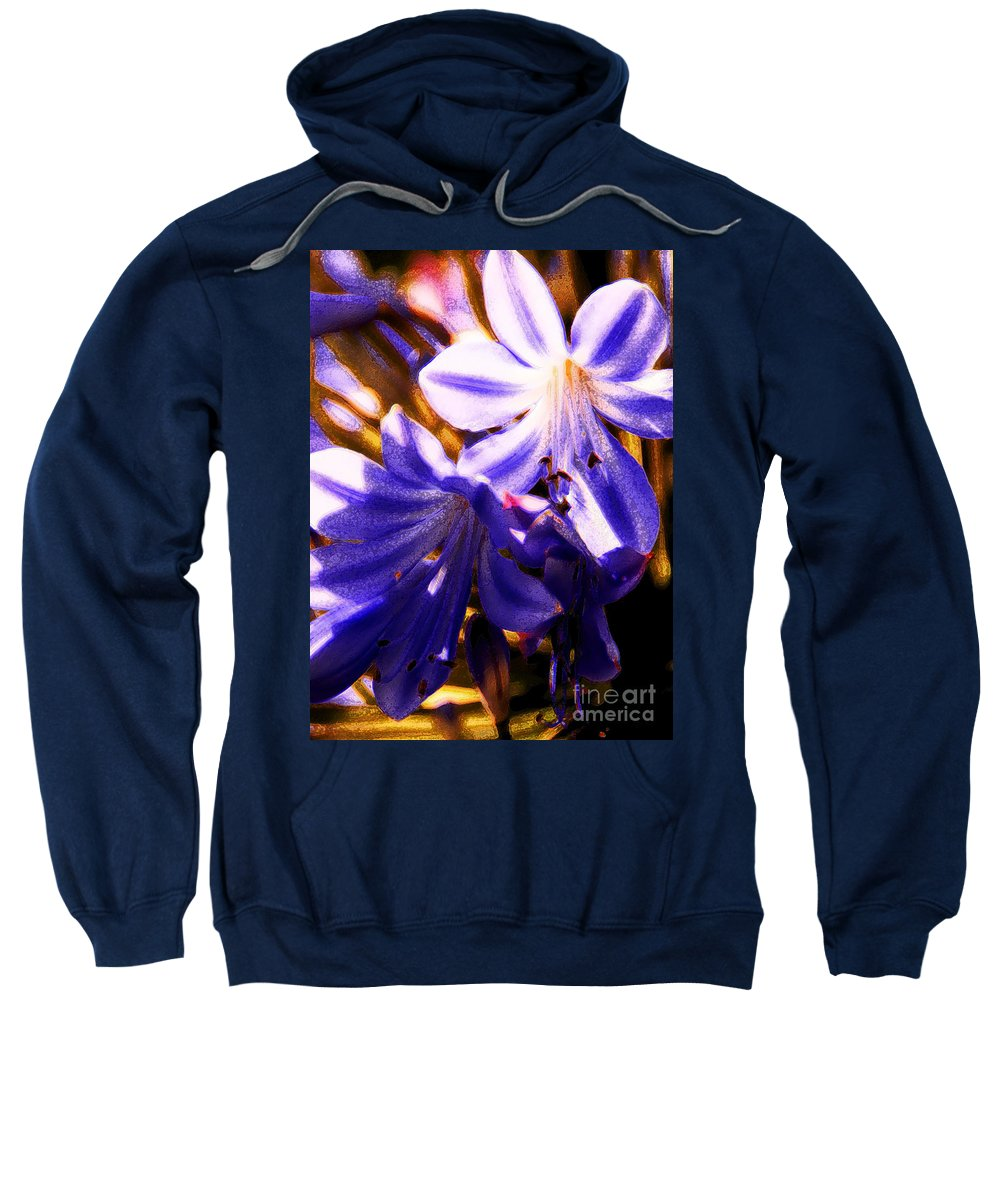 Floral Sweatshirt featuring the photograph Striped In Blue by Linda Shafer