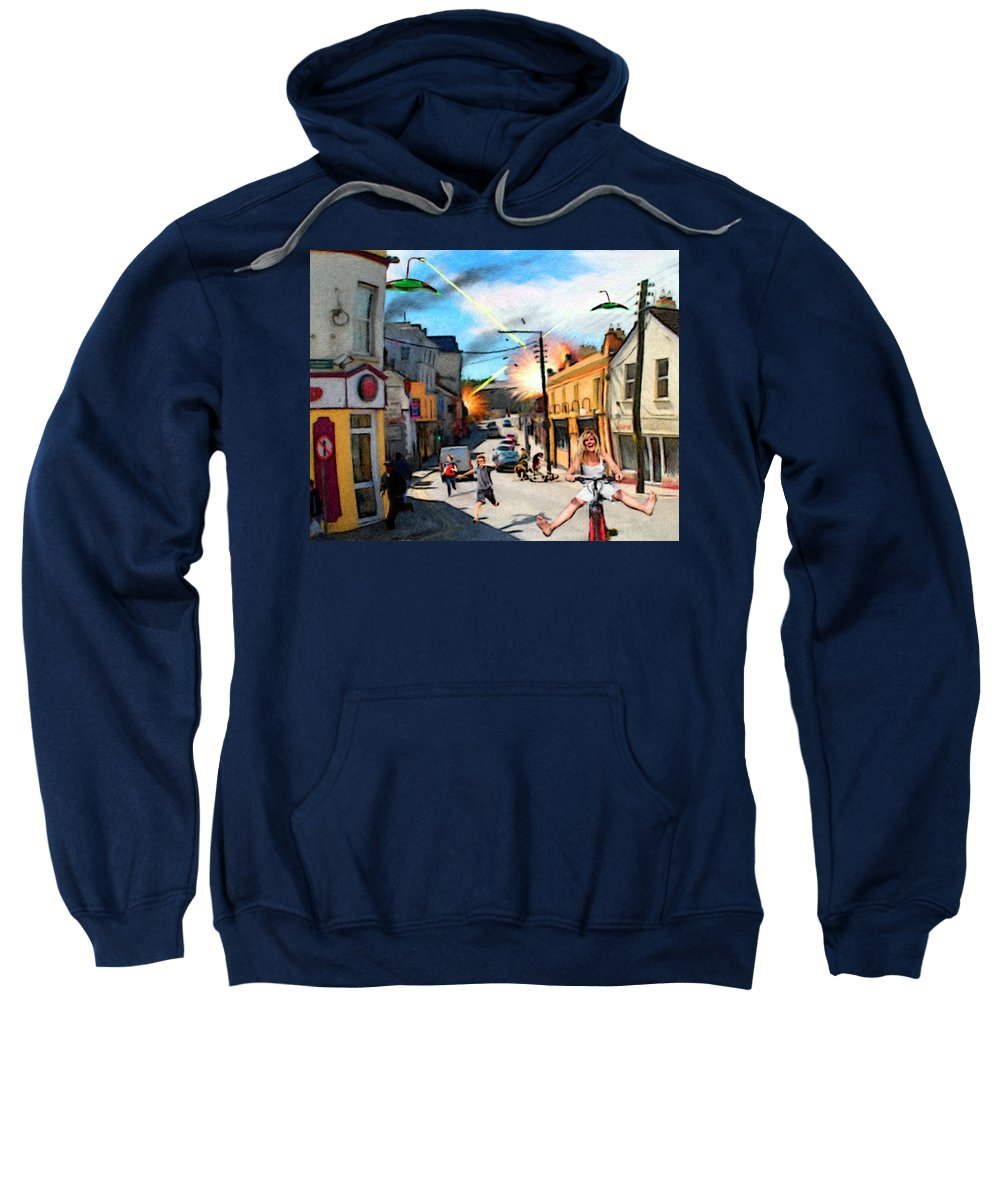 People Sweatshirt featuring the digital art Sudden Attack by Snake Jagger
