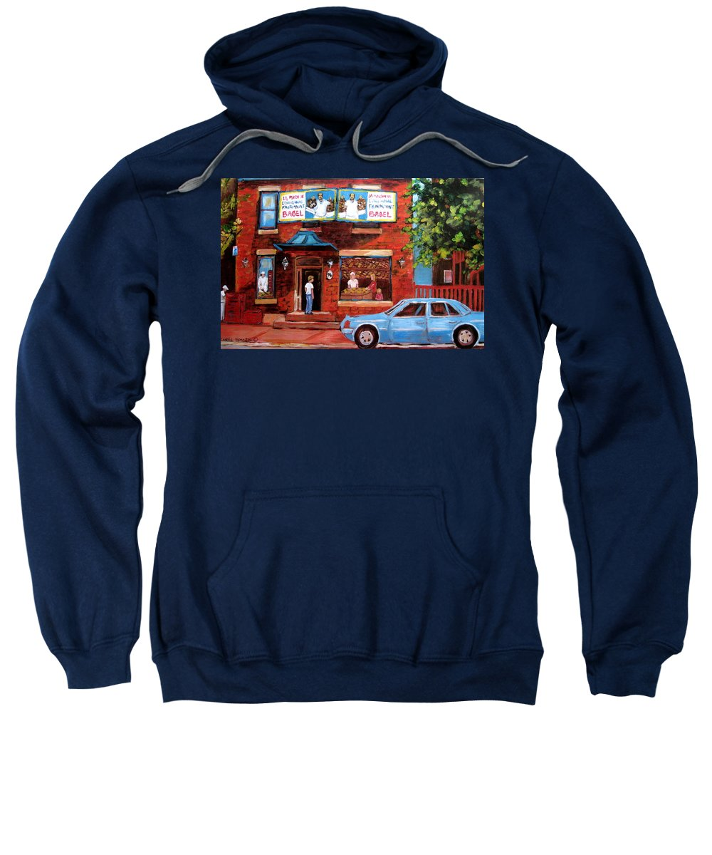 Fairmount Bagel Sweatshirt featuring the painting Summer At Fairmount by Carole Spandau