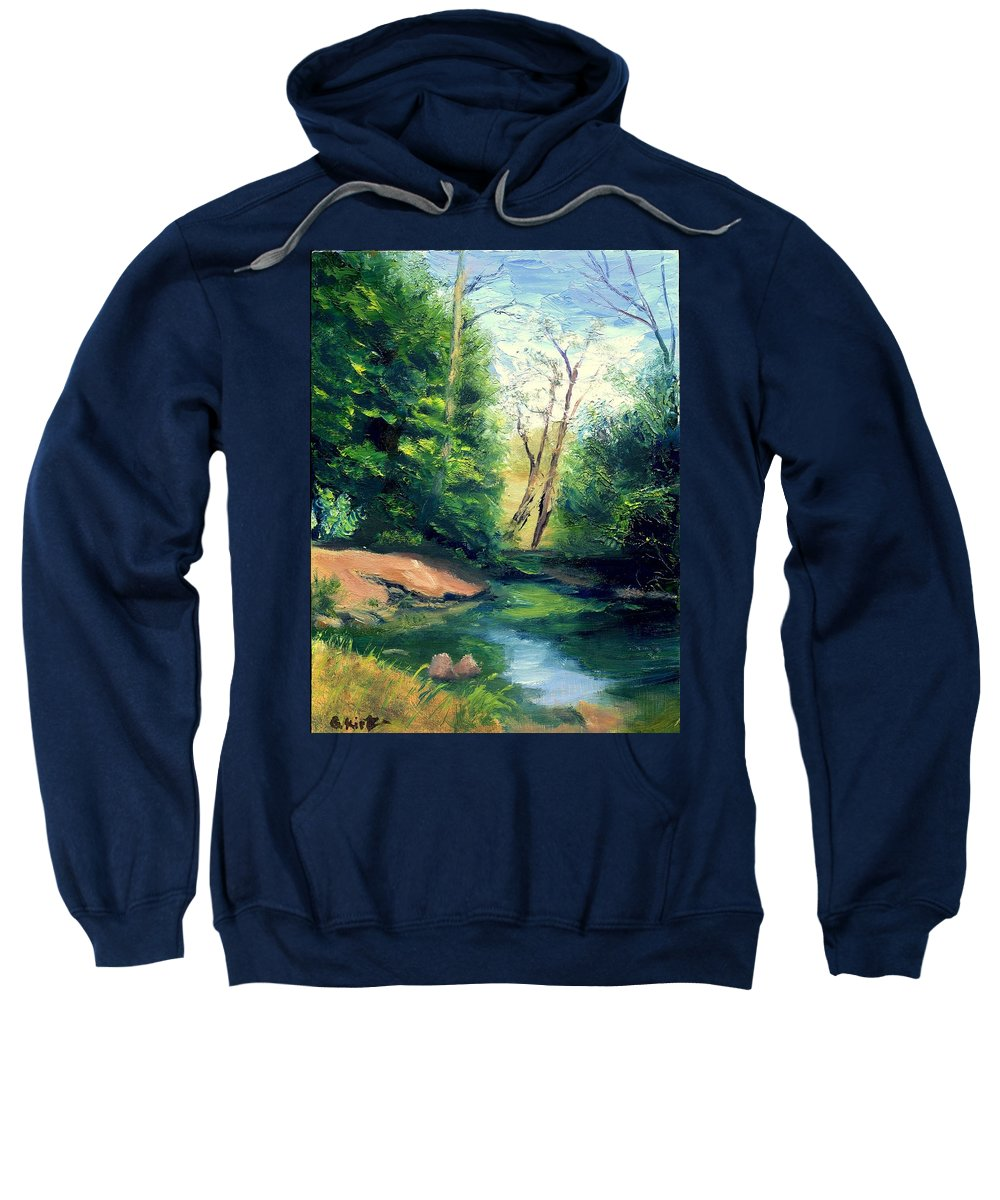 Landscape Sweatshirt featuring the painting Summer At Storm by Gail Kirtz