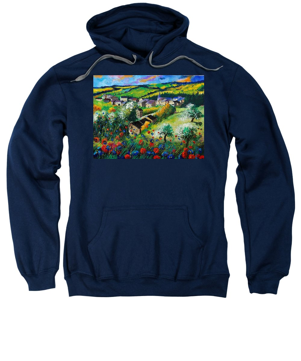 Poppies Sweatshirt featuring the painting Summer In Rochehaut by Pol Ledent