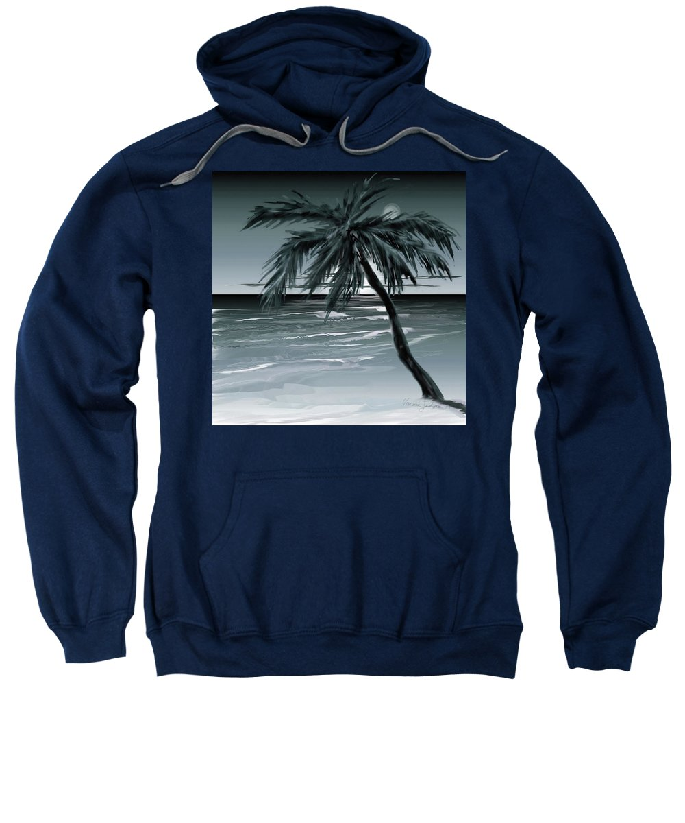 Water Beach Sea Ocean Palm Tree Summer Breeze Moonlight Sky Night Sweatshirt featuring the digital art Summer Night In Florida by Veronica Jackson